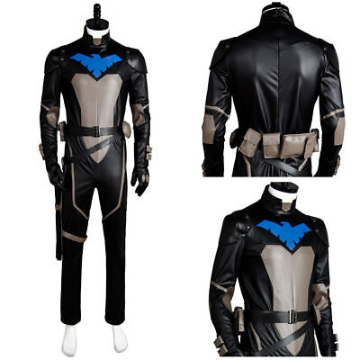 Young Justice Costumes (Young Justice S2 Nightwing Cosplay Costume Jumpsuit Suit Outfit Mask Set)
