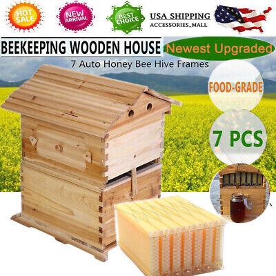 Upgraded Beehive Brood Box 7pcs Free Flow Honey Hive Frames Beekeeping Set Us