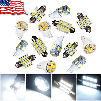 14X White LED Light Interior Package Kit for T10 & 31mm Map Dome + License Plate](Led White Lights)