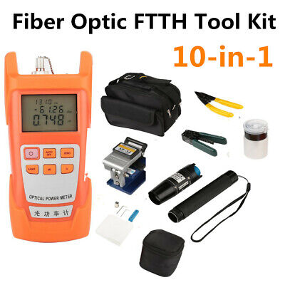 10-in-1 Fiber Optic Ftth Tool Kit With Fc-6s Cleaver Optical Power Meter Visual