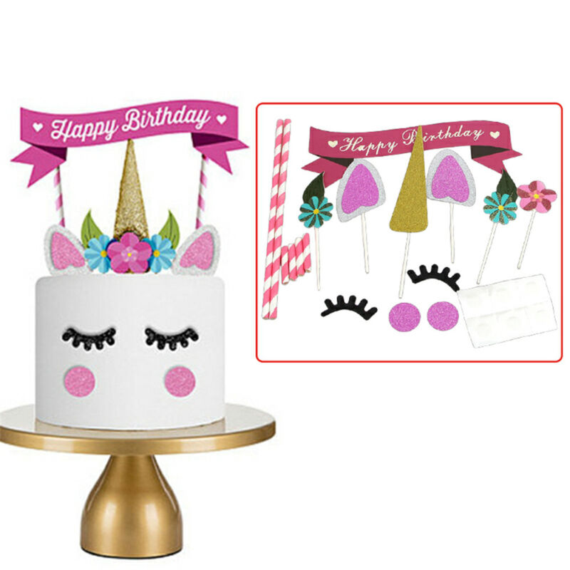 Details About UK Horse Glitter Cake Topper Happy Birthday Candle Party Supplies Decor DIY