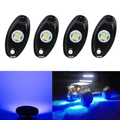 4x Blue LED Rock Light 4Pods Lights For JEEP Off Road Truck Car ATV Under Body