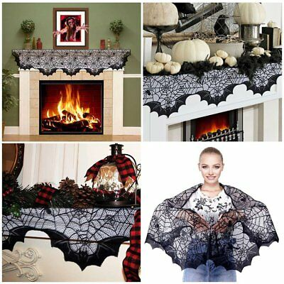 Halloween Mantle Scarf Black Lace Fabric Fireplace Gothic Decorations 20