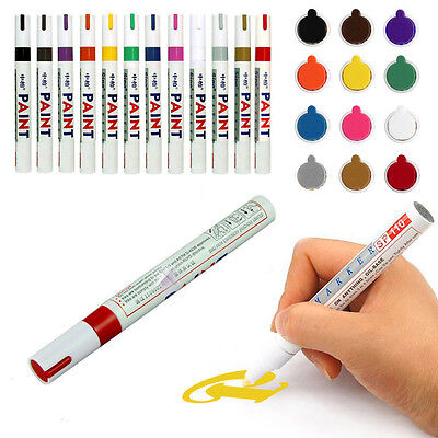 12Pcs Waterproof Permanent Paint Marker Pen Car Tyre Tire Tread Rubber Colorful