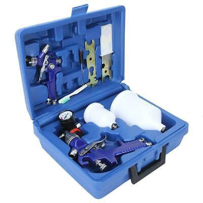 Auto Paint HVLP Air Spray Gun Kit Gravity Feed Car Primer 0.8/1.4mm Nozzle +Box