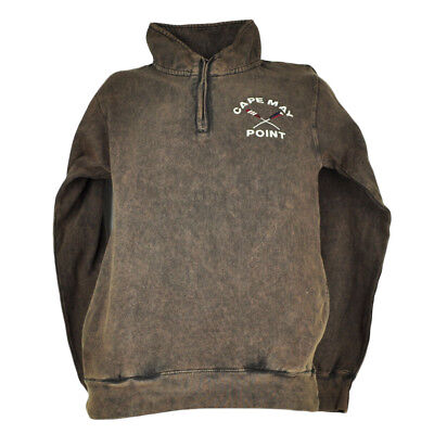 Cape May Point New Jersey Acid Brown Sweater Pullover Mens Mid Zipper Rustic