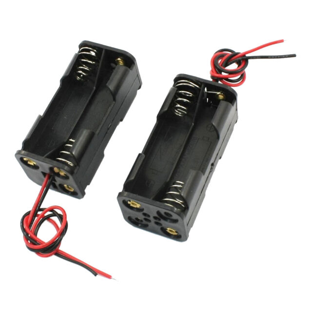 2pcs Black 2-Layers 4 x 1.5V AAA Battery Box w Wire Leads WS B2G9