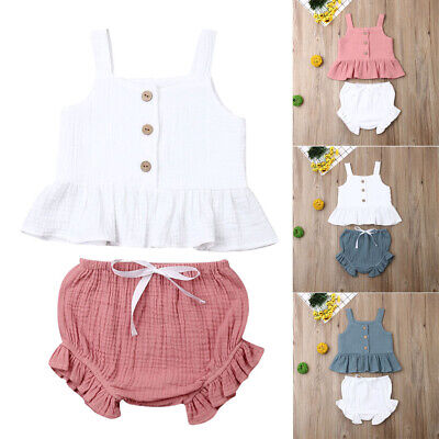 US Kids Baby Girl Toddler Clothes Tank Tops Stripe Shorts Pants 2PCS Outfit Set