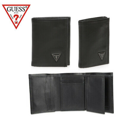 Guess Men's Trifold Black Wallet Black Plaque Clothing, Shoes & Accessories