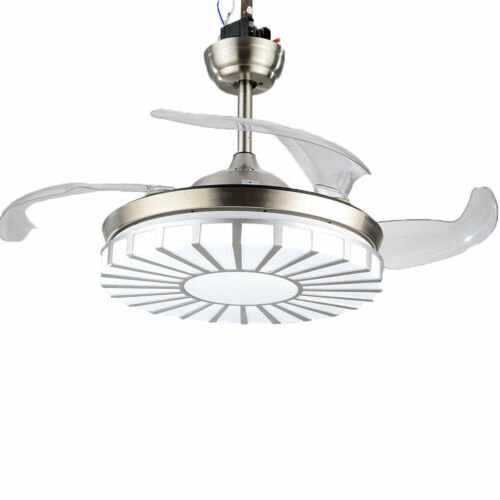 Invisible Crystal Fan Light Lamp Ceiling Light 4 Blades 3 Speed +Remote Control 4