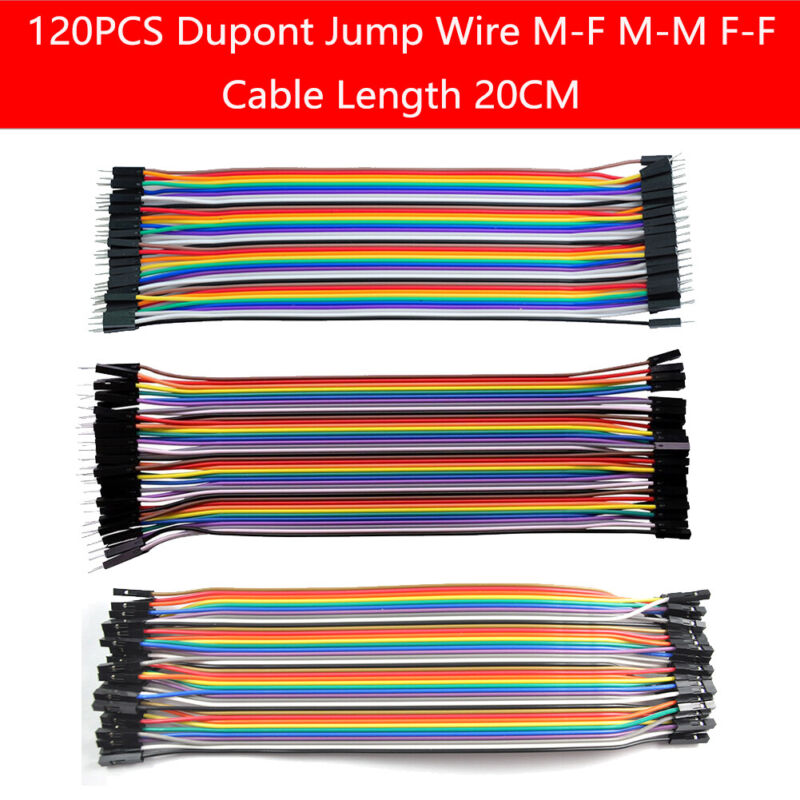 120pcs M-M/M-F/F-F Dupont Wire Cable Jumper Lead 20cm for Arduino Breadboard