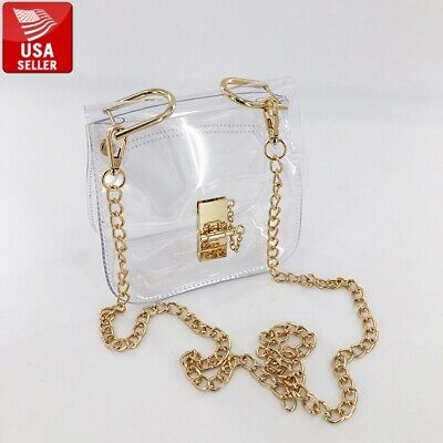 Transparent PVC Stylish Square Purse Clear Handbag Shoulder Bag Gold-Color (Gold Chain Shoulder Bag)