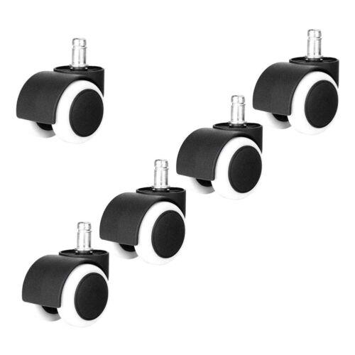 Set of 5 Office Task Chair Caster Rubber Wheels for Hardwood
