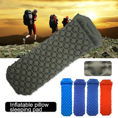 Outdoor 40D Nylon Moistureproof Inflatable Cushion Sleeping Pad Mat with Pillow Camping & Hiking