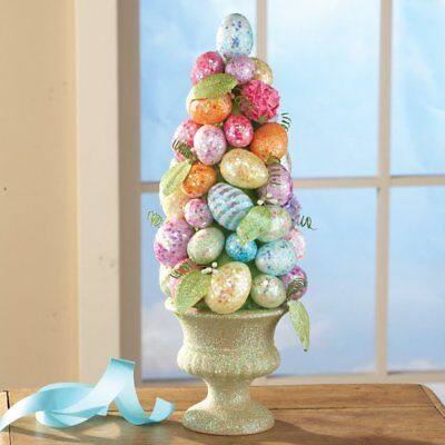 Spring Easter Centerpiece Table Decoration Colorful Egg Topiary Tabletop Display
