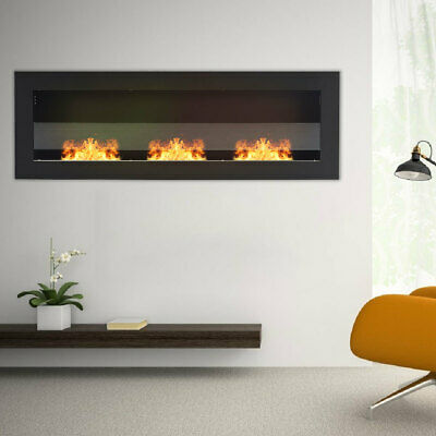 Fireplace Bio Ethanol Inset Wall Mounted Fire Black Steel Glass Clean Protect UK