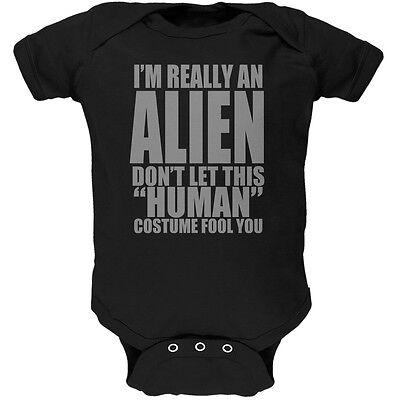 Alien Infant Halloween Costume (Halloween Human Alien Costume Black Soft Baby One)