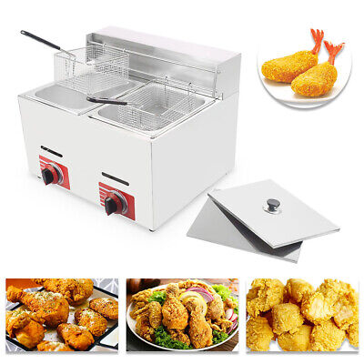 Hot Commercial Countertop Gas Fryer 2 Baskets Gf-72 Propanelpg Wmetal Tube