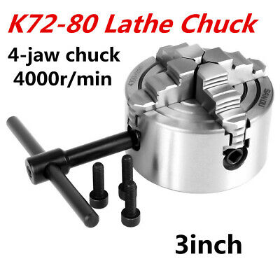 3inch 4-jaw K72-80 Independent Reversible Jaw Lathe Chuck Turning Machine Sp