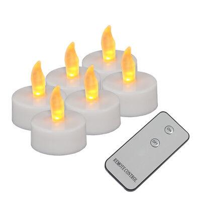 Batterie Kerzen (LED Teelicht 6er Set Teelichter mit Fernbedienung Kerzen flackernd inkl Batterie)