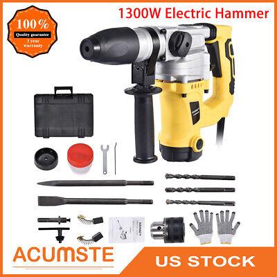 Electric Sds Plus Demolition Jack Hammer Concrete Breaker Punch Chisel Bit 1300w