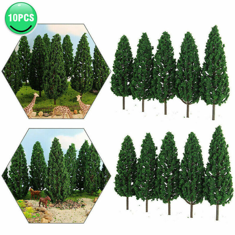 10pcs Model Pine Trees 1:25 Green For O G Scale Railway Layout 16cm S16060