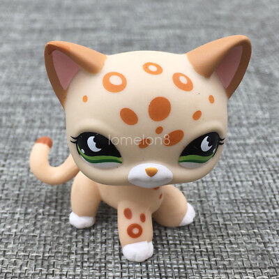 Littlest Pet Shop Animal Tan Spotted Leopard Little Yellow Cat LPS #852 Girl Toy