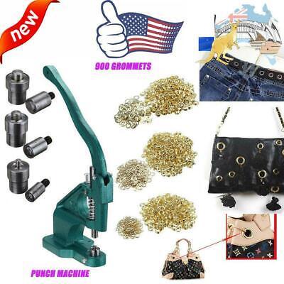 Grommet Eyelet Hole Punch Machine Hand Press Tool Kits 3 Dies 900 Grommets