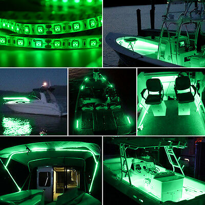 Waterproof Yacht Marine Boat Light Deck Bow Pontoon 5050 LED Strip Green 16.4ft