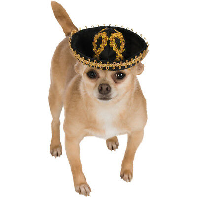 Schwarz und Gold Haustier Sombrero Hund Kostüm Mexikanische Mariachi Welpe - Taco Hunde Kostüm