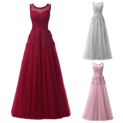 Damen Hochzeit Brautjungfer Kleid Ärmellos Tüll Lang Abendkleider Partykleider
