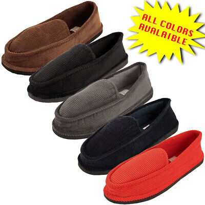 Mens Slippers House Shoes Corduroy Color Slip On Moccasin Comfort Indoor Outdoor Corduroy Slip Ons
