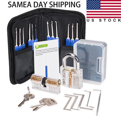 12picks5 Torque Wrench Lock Pick Set Transparent Locksmith Practice Padlock Us