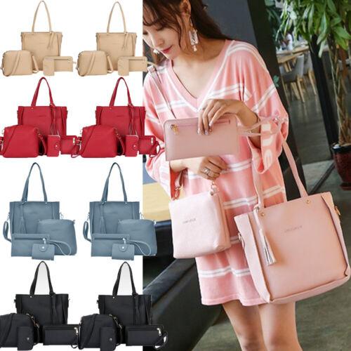 4PCS/Set Women Lady Leather Handbag Shoulder Bags Tote Purse