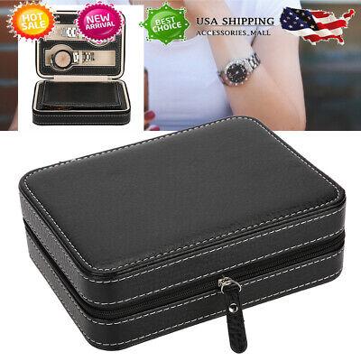 4 Slots Portable Watch Box Travel Case Storage Holder w/ Zipper Padded Divider