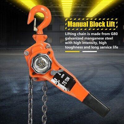 0.75 Ton Heavy Duty Chain Lever Block Hoist Come Along Ratchet Puller Lift 3m Us