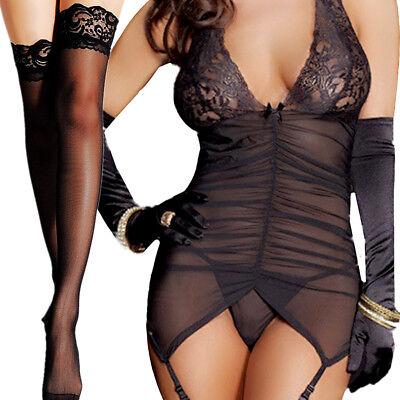 (Women Mesh Sheer Lace Mini Dress Babydoll G-string Stockings Lingerie Nightwear)