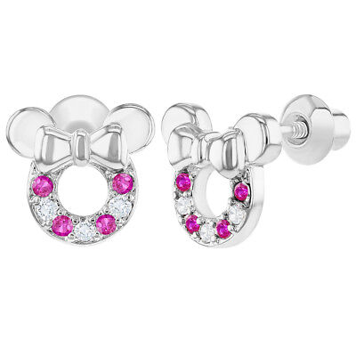 Rhodium Plated Clear Fuchsia Crystal Mouse Bow Screw Back Girls Kids Earrings