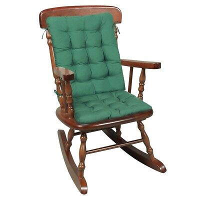 Two Piece Rocking Chair Cushions - Seat & Back Pads - Green