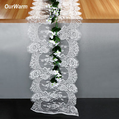 35X300cm Wedding Table Runner White Lace Runners Chair Sash Party Home Decor