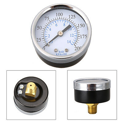 New Air Pressure Gauge Air Compressor Hydraulic 2 Face 0-200 Back Mnt 14 Npt