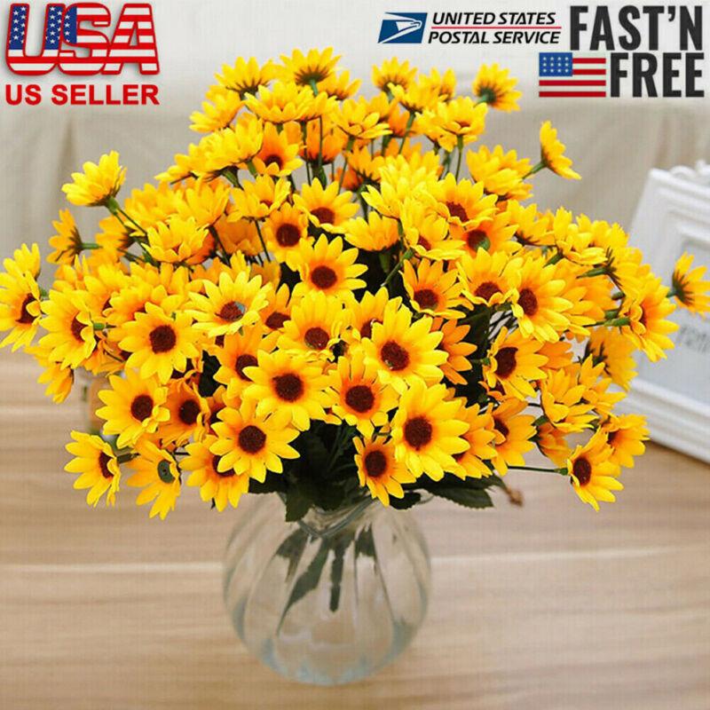 15-Head Artificial Sunflower Fake Silk Flowers Bouquet Wedding Floral Home Decor
