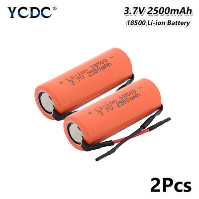 2x 3.7V 2500mAh Li-ion 18500 Battery With Wires Rechargeable Green Power Cell -