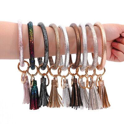 Women's Bangle Key Ring Bracelet Key Chain Keyring Wrist Keychain Tassel Surpris