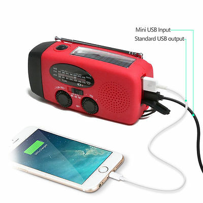 Emergency Solar Hand Crank Dynamo Am Fm Weather Radio Led Flashlight Charger Usa