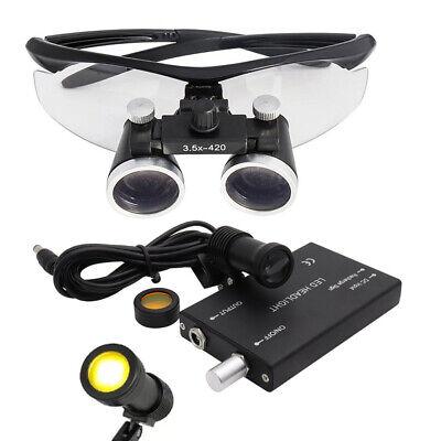 2.5x3.5x Binocular Dental Loupes 5w Led Head Light W Filter Medical Glasses