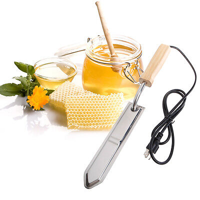 110v Electric Stainless Steel Extractor Uncapping Knife Bee Hive Honey Scraper