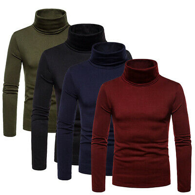 Mens Cotton Turtle Neck Slim Fit Turtleneck Sweaters Stretch Pullover Shirt Tops