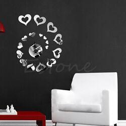 Mirror Heart Style DIY Removable Decal Wall Clock Vinyl Art Wall Sticker Decor