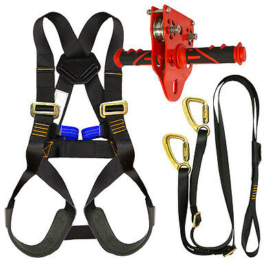 Fusion Kids Backyard Zip Line Kit Harness Lanyard Trolley Bundle FK-K-HLT-05